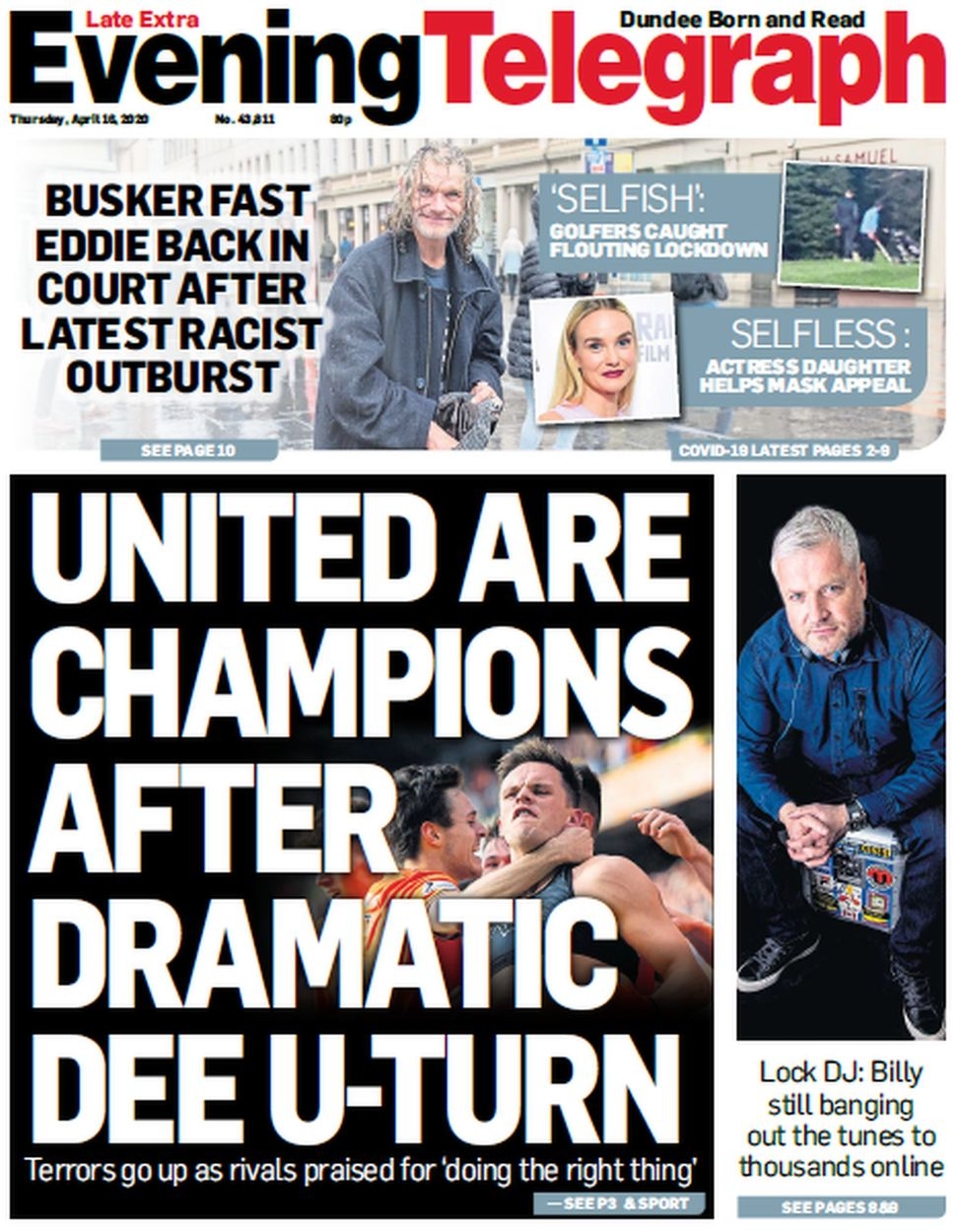 Evening Telegraph front page