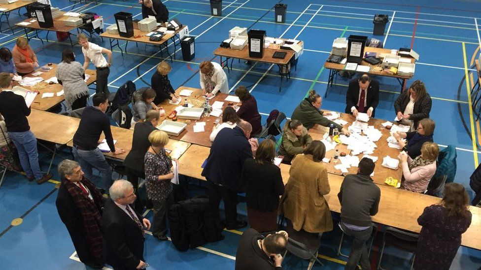 People counting the vote at the Alyn and Deeside by-election