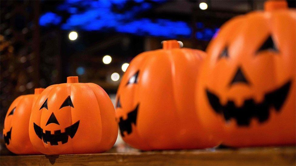 File photo showing Plastic pumpkin Halloween lanterns