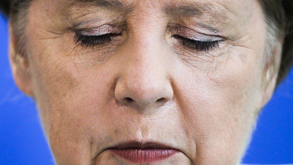 German Chancellor Angela Merkel speaks after the referendum result