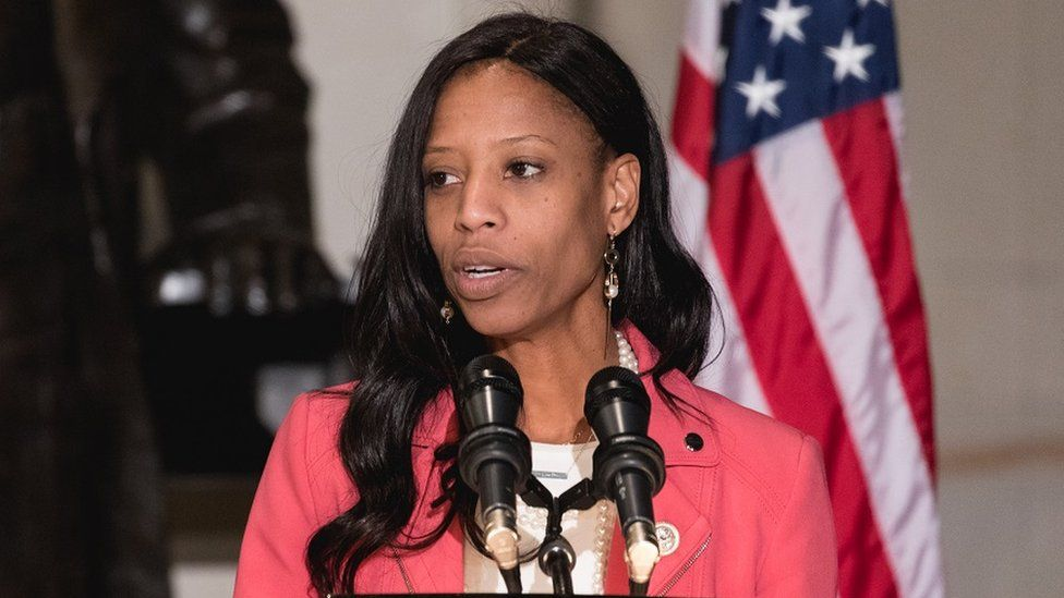 Mia Love speaks at an event at the US Capitol.