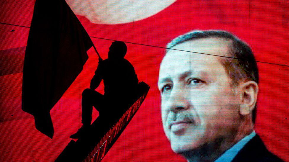 Erdogan banner in Ankara, file pic