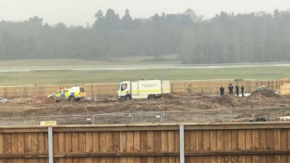 A bomb disposal team at Newbury racecourse
