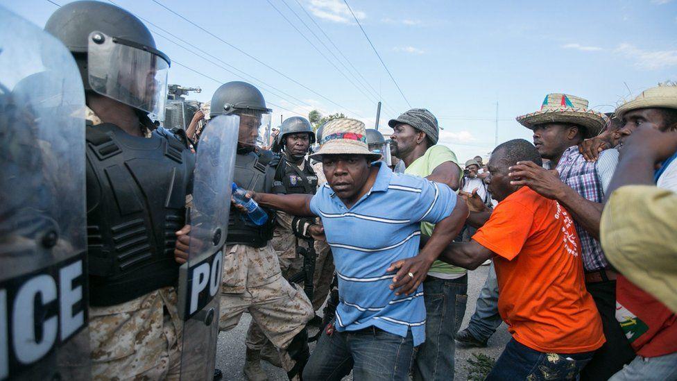 An opposition demonstration in Haiti