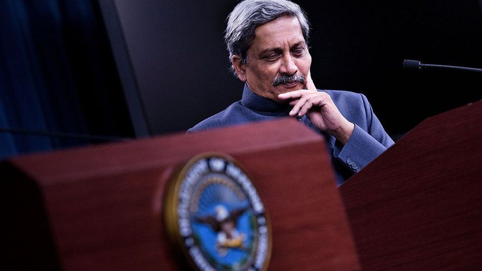 Manohar Parrikar attends a press conference at the Pentagon on August 29, 2016 in Washington, DC.