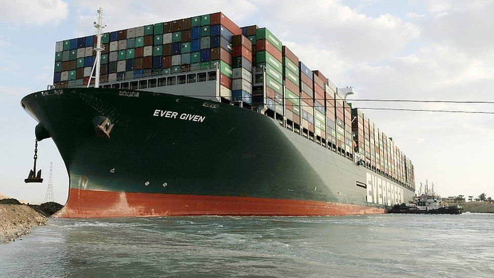 Ever Given container ship which ran aground in the Suez Canal, Egypt, 28 March 2021