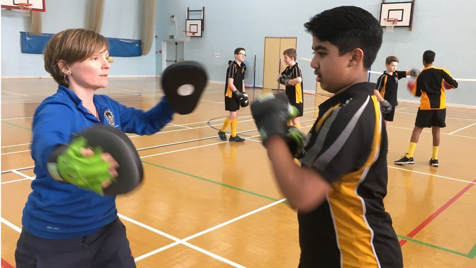 Head of PE Clare Curling, teaching boxercise
