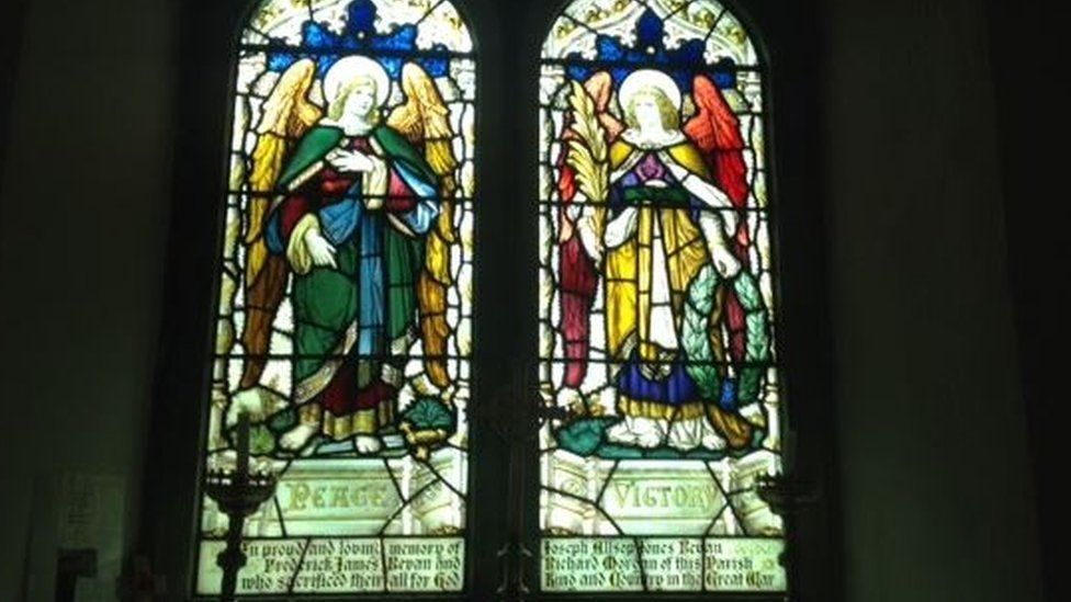 The stained glass window which honours Able Seaman Richard Morgan and his friends who also died