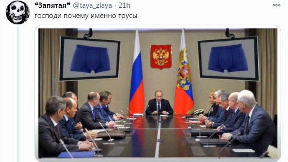 """""""Heavens, but why go for underpants?"""" - a mocked-up image of a Putin cabinet meeting"""