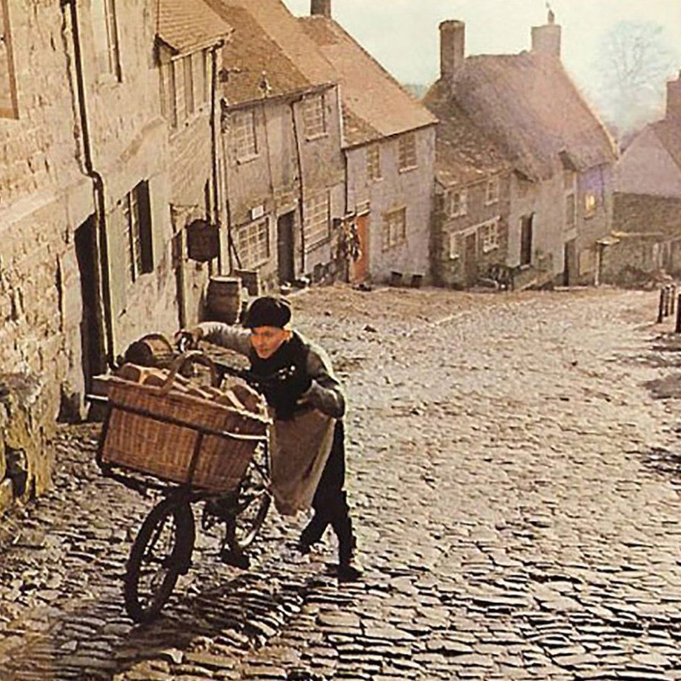 Scene from the 1973 Hovis bread advert