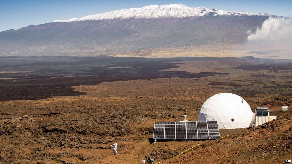 The exterior of the HI-SEAS habitat on the northern slope of Mauna Loa in Hawaii