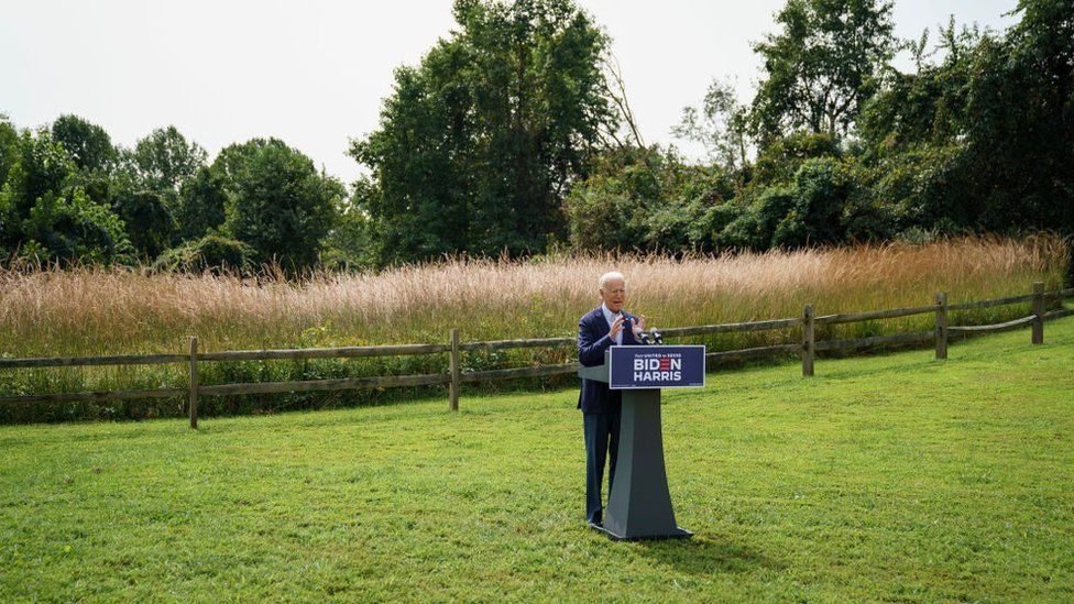 """Mr Biden called the president an """"arsonist"""" at a campaign stop in Delaware"""