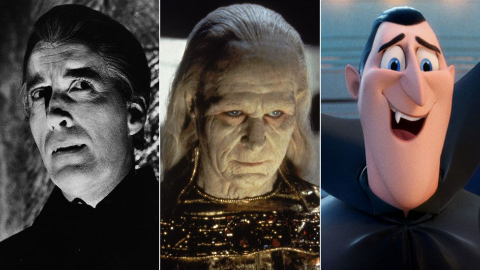 Christopher Lee in Dracula Has Risen from the Grave, Gary Oldman in Bram Stoker's Dracula and Dracula as he appears in Hotel Transylvania 3: Summer Vacation