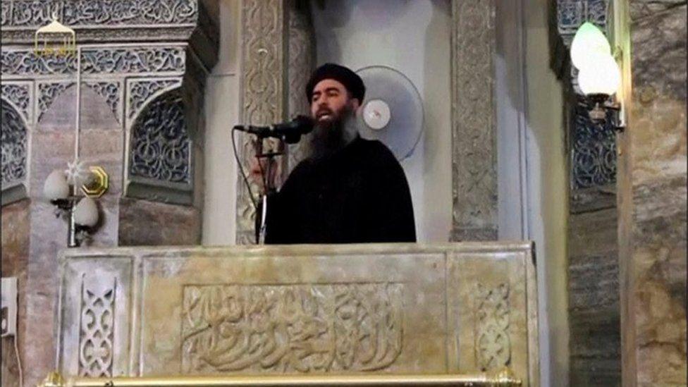 Abu Bakr al-Baghdadi appears inside mosque in Mosul from 2014