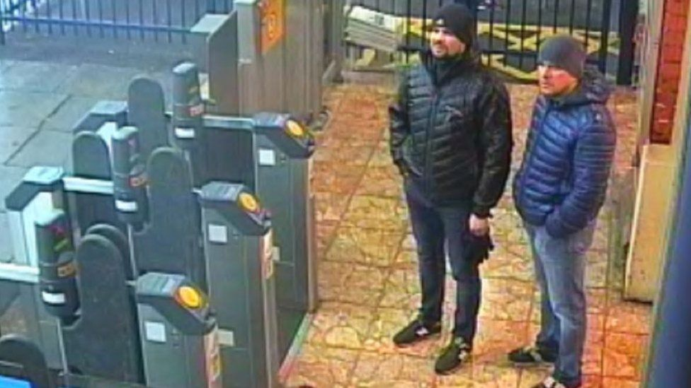 Two suspects pictured on CCTV at Salisbury train station, England, in March 2018