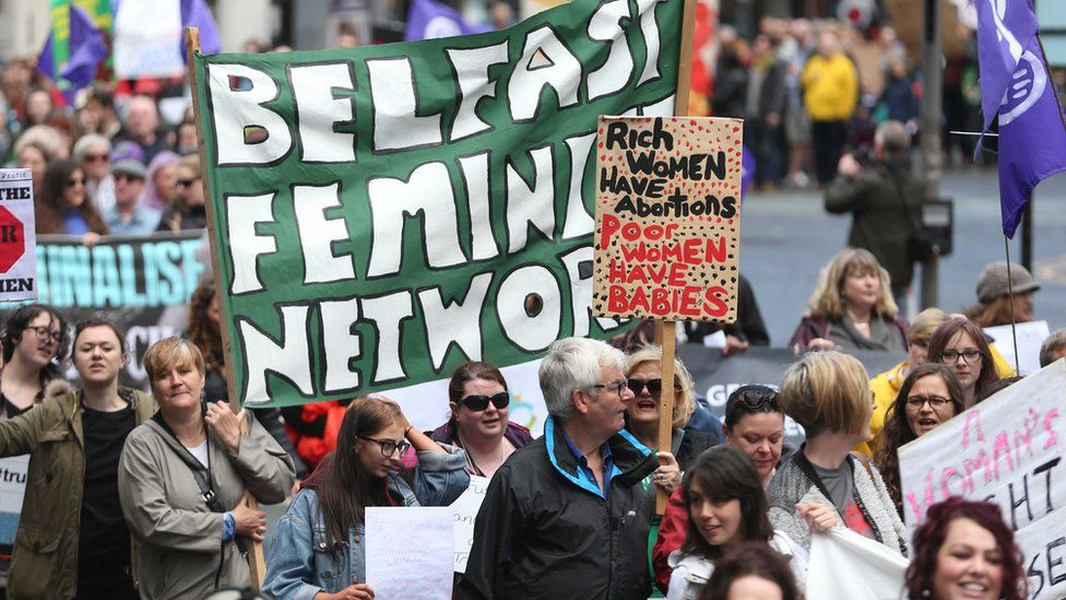 People at a Belfast protest against abortion laws