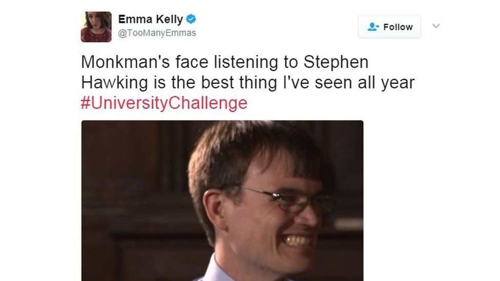 Monkman's face listening to Hawking