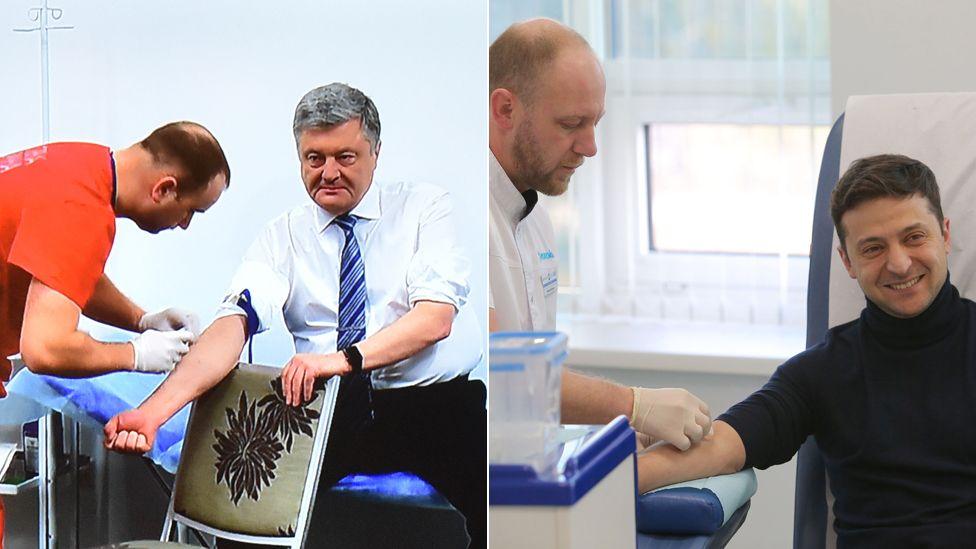 Petro Poroshenko (L) and Volodymyr Zelensky