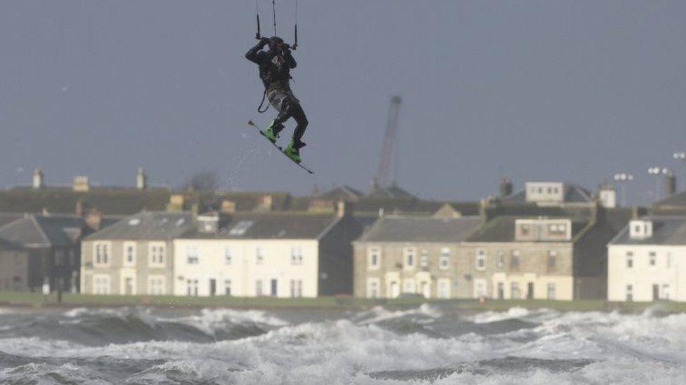 Kite surfer in Troon, Ayrshire