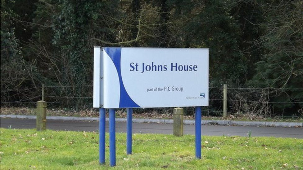 St John's House sign, Lion Road, near Diss