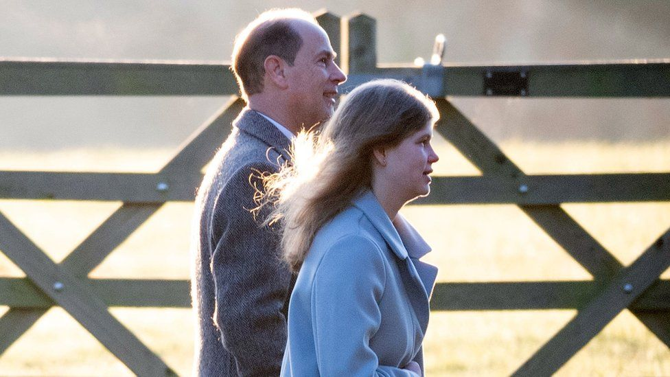 The Earl of Wessex and daughter Lady Louise Windsor arriving at Sandringham
