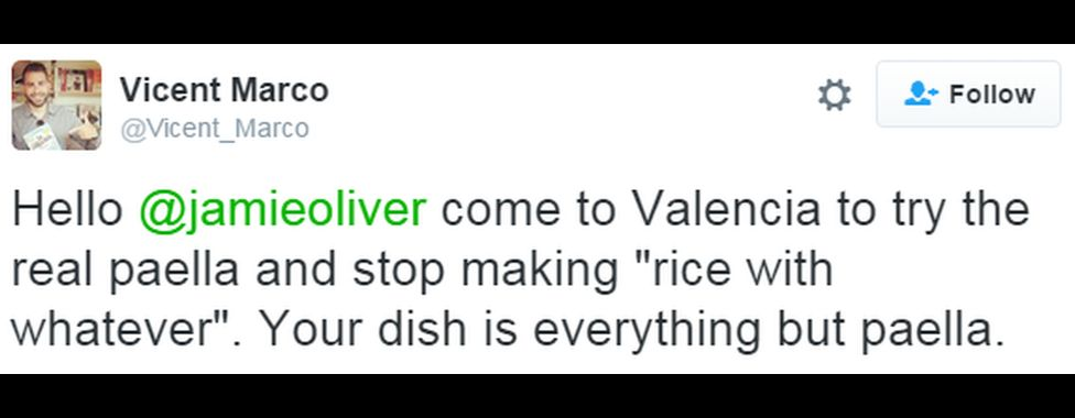 "A tweet reads: ""Hello @jamieoliver come to Valencia to try the real paella and stop making ""rice with whatever"". Your dish is everything but paella."""