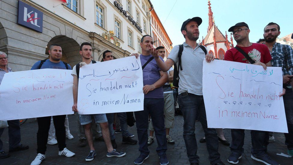 Refugees in Wuerzburg have demonstrated after the attack there, carried out by a 17-year-old asylum seeker