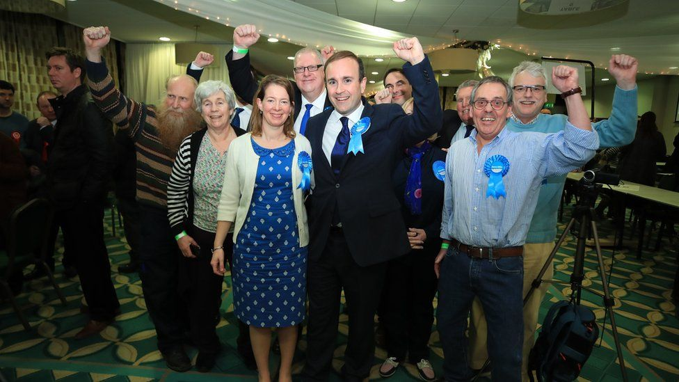 Conservative candidate Aaron Bell is declared the winner of the Newcastle-Under-Lyme seat