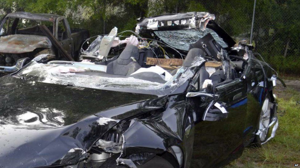 Crashed Tesla