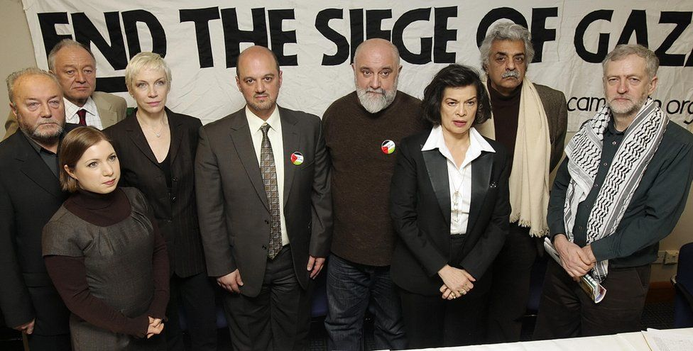 Jeremy Corbyn as part of a group against Israeli settlement of Gaza in 2009