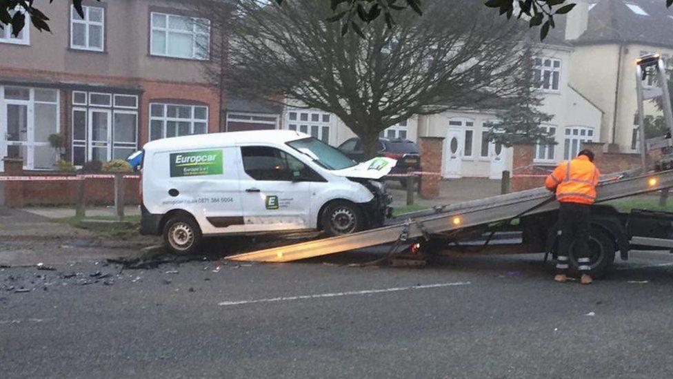 Transit van being taken away