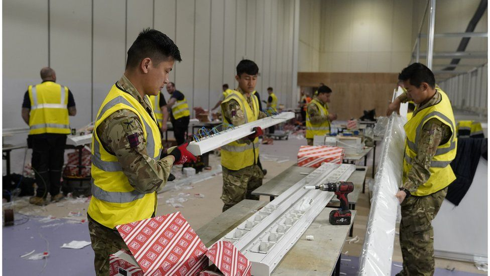 Military personnel helping to build the NHS Nightingale Hospital