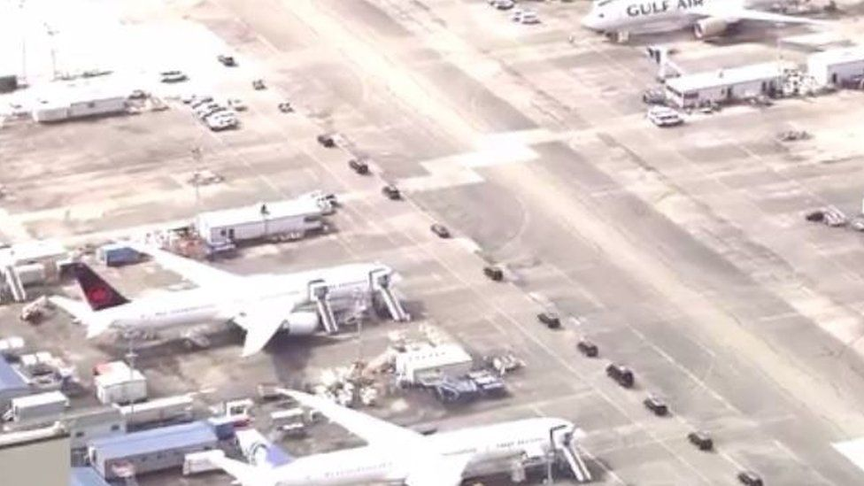The prince's massive entourage motorcade crept through the Seattle airport earlier this week