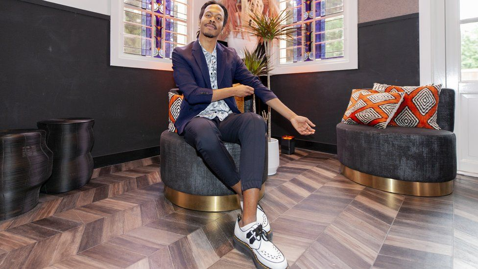 Dutch singer Jeangu Macrooy poses during a press meeting on March 5, 2020 in Amsterdam, Netherlands