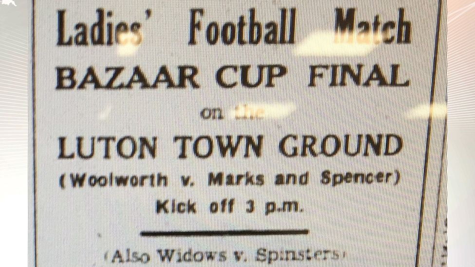 Newspaper advert from 1935 for women's football matches in Luton
