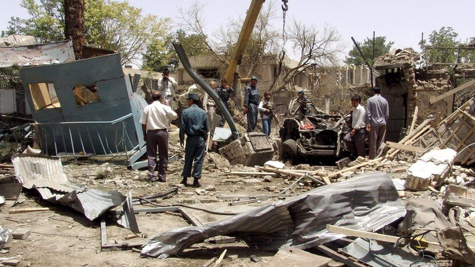Image shows the aftermath of the 2008 suicide bomb attack on the Indian Embassy in Kabul