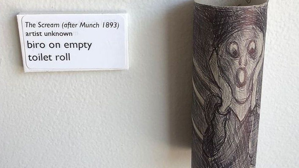 Sarah Whittley's toilet roll Biro drawing based on Edvard Munch's The Scream