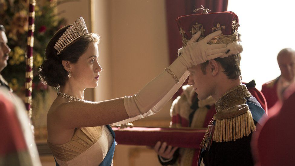 Claire Foy as the Queen and Matt Smith as Prince Philip in The Crown