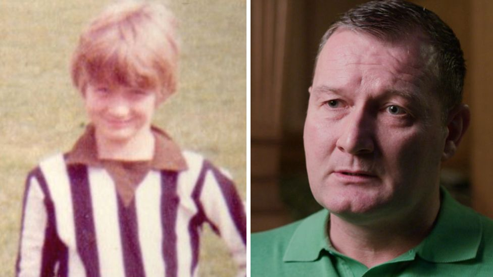 Jon Cleland as a boy and pictured now