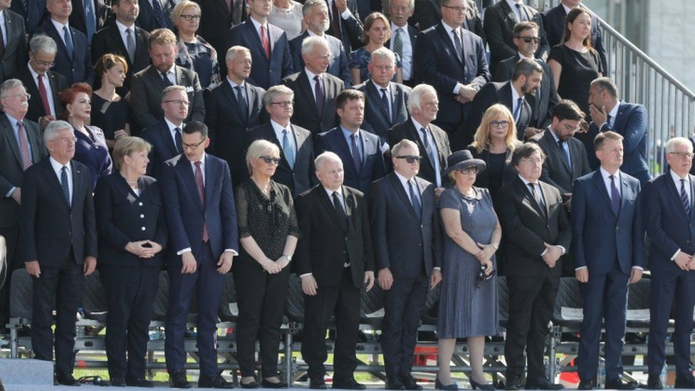 Leaders and officials attend the commemorative ceremony in Warsaw