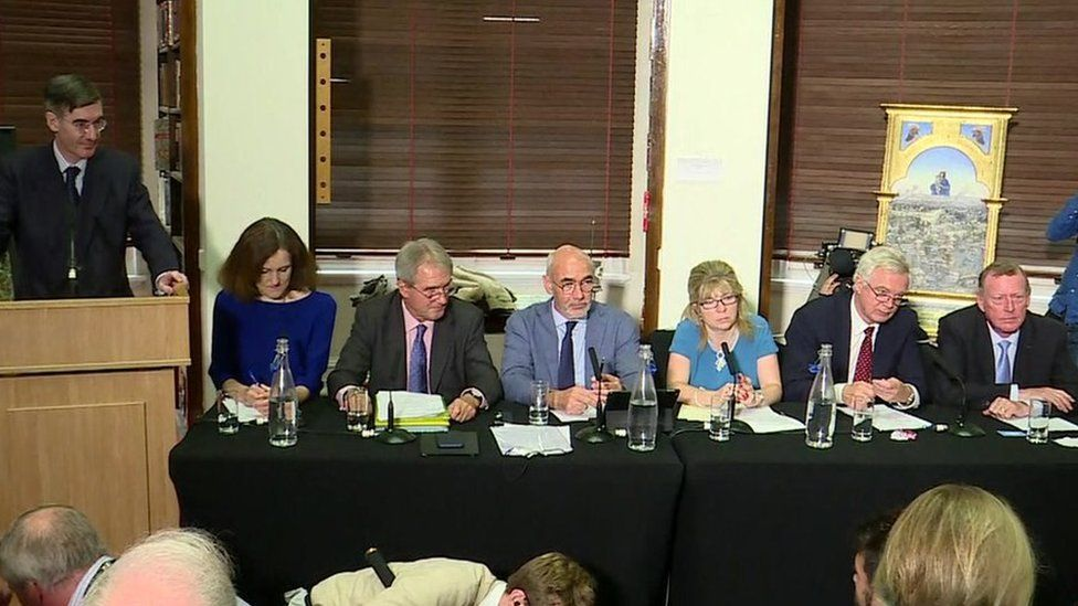 Jacob Rees-Mogg, Theresa Villiers and other members of the European Research Group
