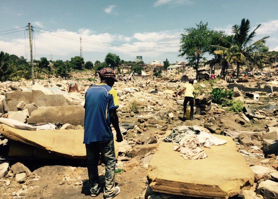 Site of a demolition site in Dar es Salaam, Tanzania