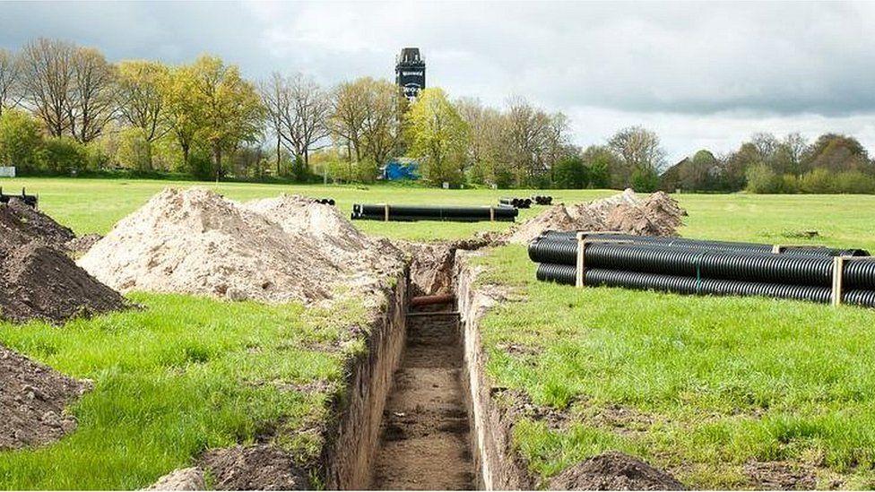 Beer pipeline being laid