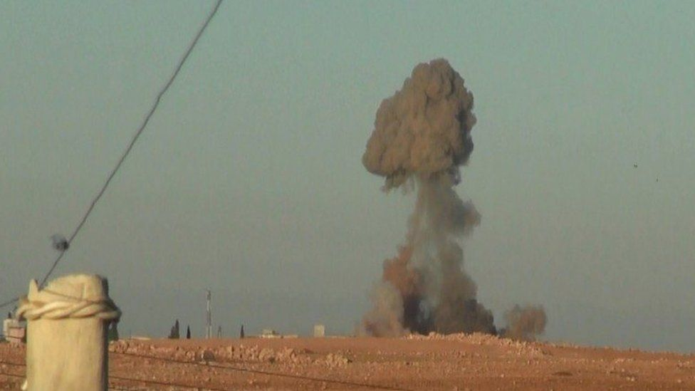 Photo published by IS purportedly showing a suicide bomb explosion targeting the Turkish army near al-Bab (23 November 2016)