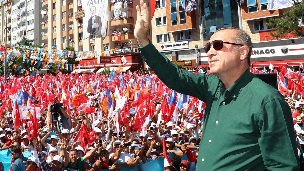 Turkish President Recep Tayyip Erdogan addresses an AKP campaign rally in Kahramanmaras, 21 June 2018