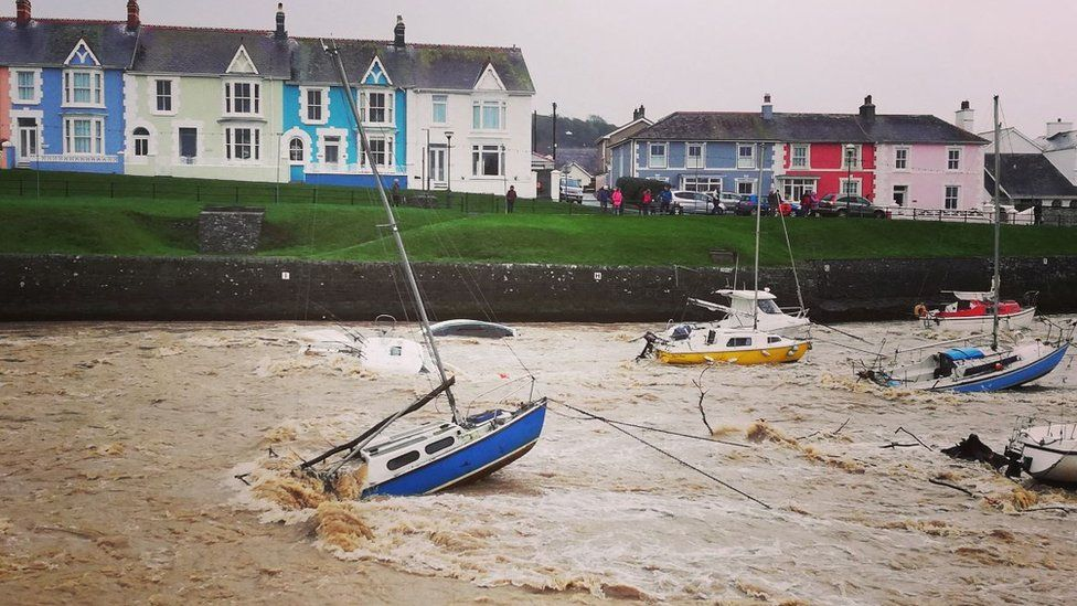 Boats in Aberaeron harbour were dislodged during the storm