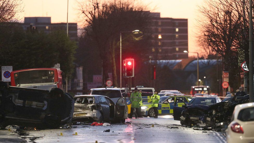 The scene of a crash at Squirrels Heath Road, Romford