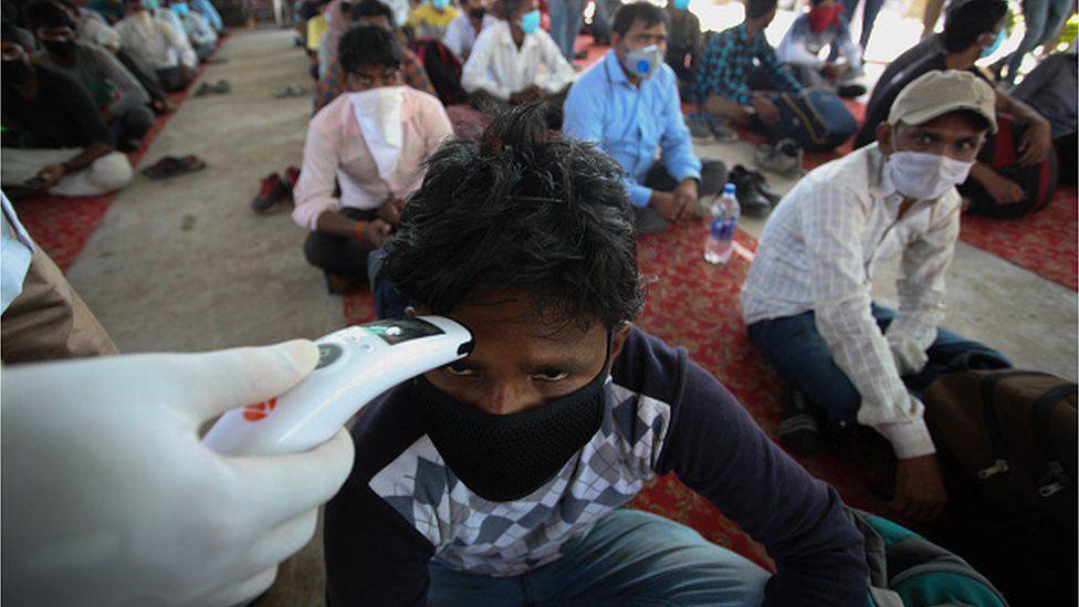 A man in a quarantine centre in India