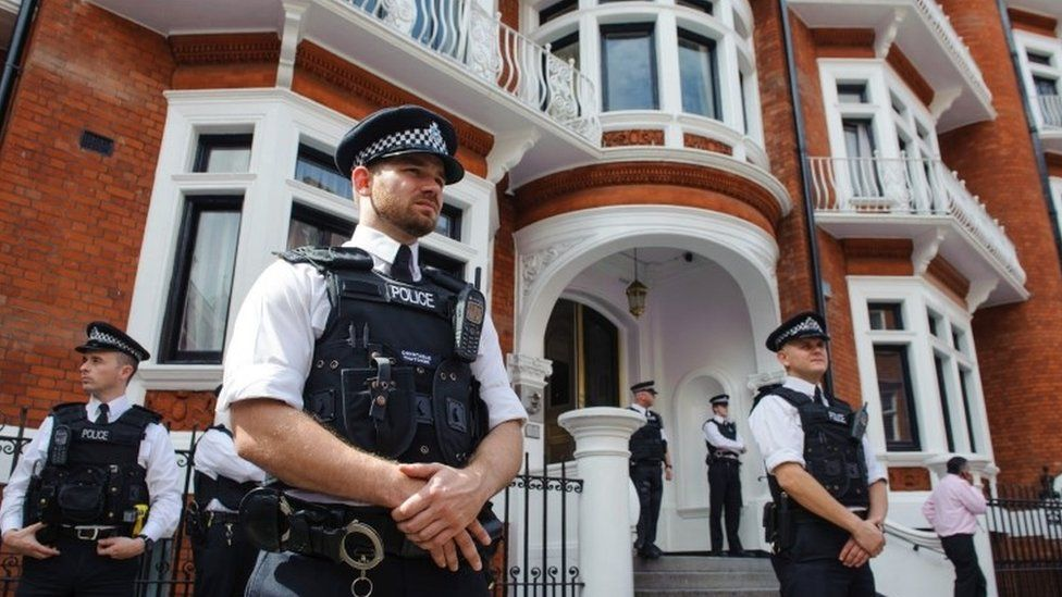 Police outside the Embassy of Ecuador in Knightsbridge, central London