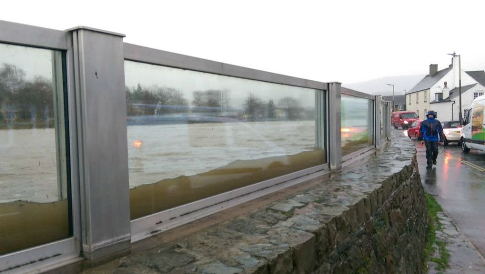 Glass barriers in use in Keswick, Cumbria - 5 December 2015